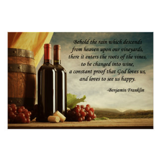 Benjamin Franklin Wine Quote Poster