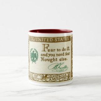 Benjamin Franklin's Credo Fear Vintage Two-Tone Coffee Mug