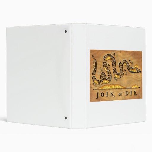 Benjamin Franklin's Join Or Die Political Cartoon Vinyl Binder