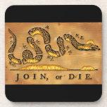 Benjamin Franklin's Join Or Die Political Cartoon Beverage Coaster