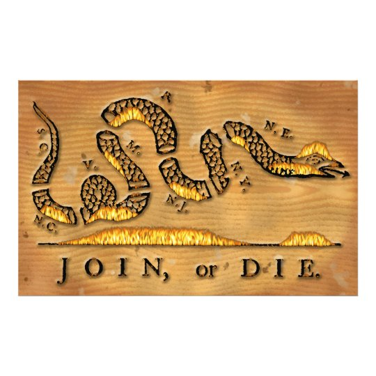 Benjamin Franklin's Join Or Die Political Cartoon Photo Print