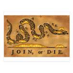 Benjamin Franklin's Join Or Die Political Cartoon Post Cards