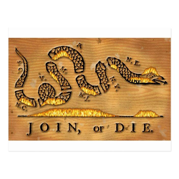 Benjamin Franklin S Join Or Die Political Cartoon Postcard Zazzle Com