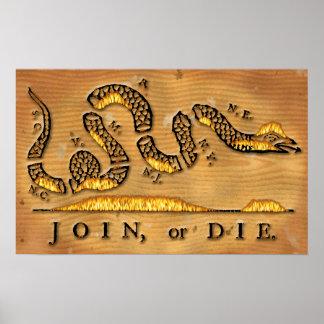 Benjamin Franklin's Join Or Die Political Cartoon Poster