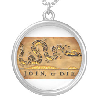 Benjamin Franklin's Join Or Die Political Cartoon Silver Plated Necklace