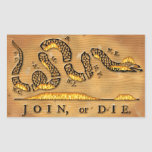 Benjamin Franklin's Join Or Die Political Cartoon Rectangular Stickers