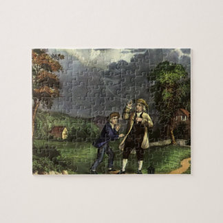 Benjamin Franklin's Kite and Lightning Experiment Jigsaw Puzzle