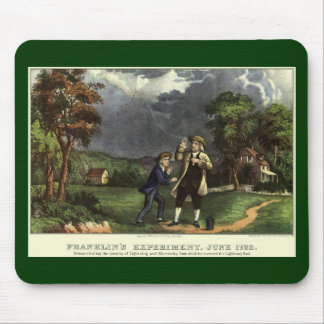 Benjamin Franklin's Kite and Lightning Experiment Mouse Pad