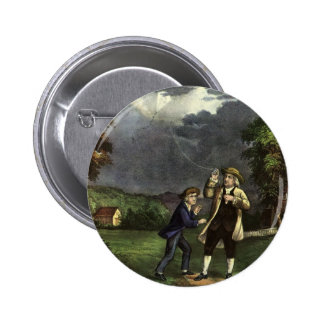 Benjamin Franklin's Kite and Lightning Experiment Pinback Button
