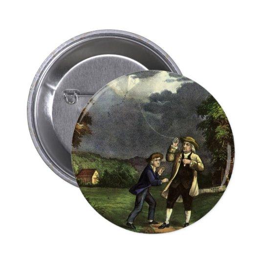 Benjamin Franklin's Kite and Lightning Experiment Pinback Button