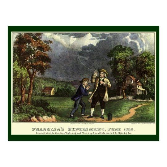 Benjamin Franklin's Kite and Lightning Experiment Postcard