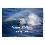 Benjamin Happy Birthday Surfer With Rainbow Greeting Cards