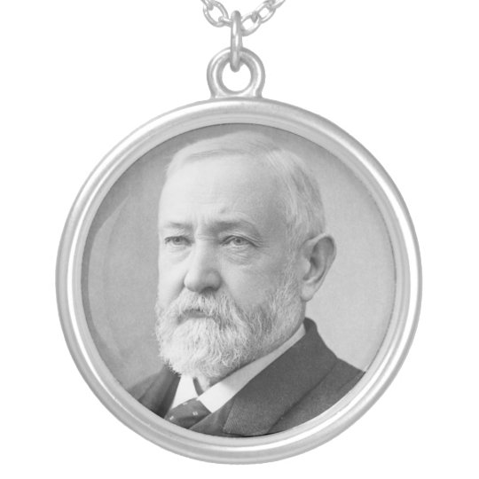 Benjamin Harrison 23rd President Silver Plated Necklace