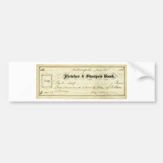 Benjamin Harrison Signed Check from July 30th 1875 Bumper Sticker