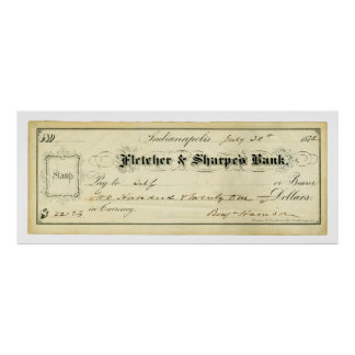 Benjamin Harrison Signed Check from July 30th 1875 Poster