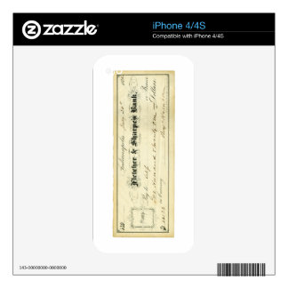 Benjamin Harrison Signed Check from July 30th 1875 Skin For iPhone 4