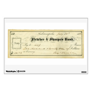 Benjamin Harrison Signed Check from July 30th 1875 Wall Decor