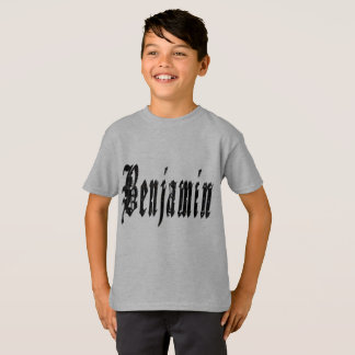 Benjamin, Name, Logo, Boys Grey T-shirt