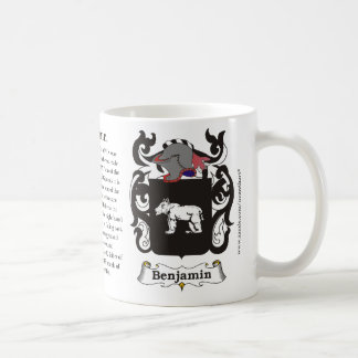 Benjamin, the origin, the meaning and the crest coffee mug