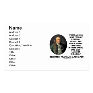 Benjmain Franklin Fond Of Reading Money In Hands Business Card Template