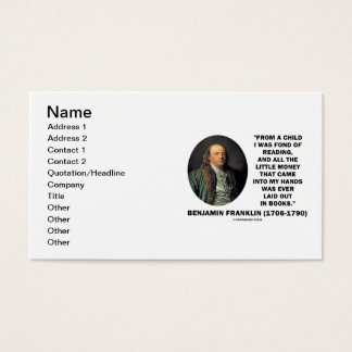 Benjmain Franklin Fond Of Reading Money In Hands Business Card