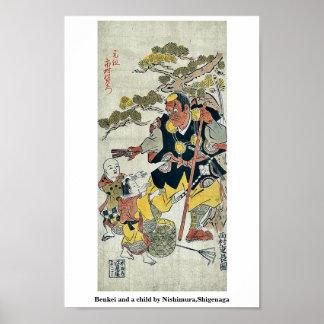Benkei y un niño por Nishimura, Shigenaga Poster