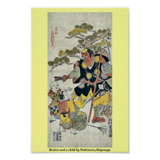 Benkei y un niño por Nishimura, Shigenaga Impresiones