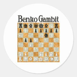 Benko Gambit Classic Round Sticker
