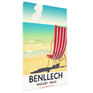 Benllech, Anglesey Wales vintage travel poster Canvas Print