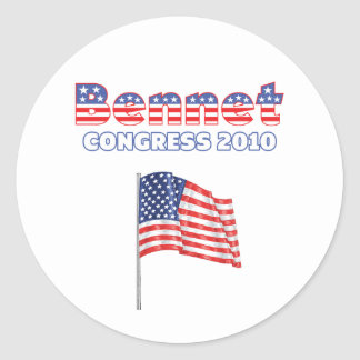 Bennet Patriotic American Flag 2010 Elections Round Sticker