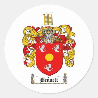 BENNETT FAMILY CREST -  BENNETT COAT OF ARMS CLASSIC ROUND STICKER