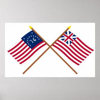 Bennington cruzado y banderas de unión magníficas póster