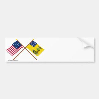 Bennington y dólares cruzados de las banderas de A Pegatina De Parachoque