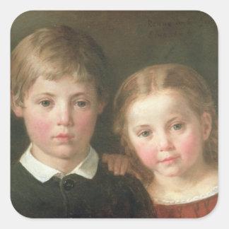Benno seis años y Elna, cuatro años, 1864 Pegatinas Cuadradas