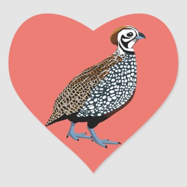 Aztec Themed BennuBirdy Montezuma Quail Heart Sticker