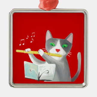 Benny el gato del jugador de flauta adorno para reyes