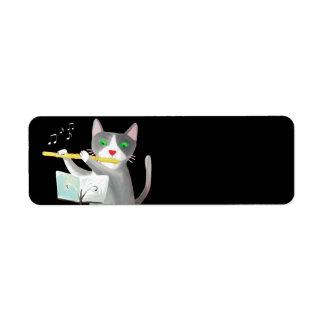 Benny el gato del jugador de flauta etiqueta de remite