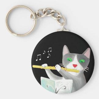 Benny el gato del jugador de flauta llaveros personalizados