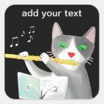 Benny el gato del jugador de flauta calcomania cuadradas personalizadas