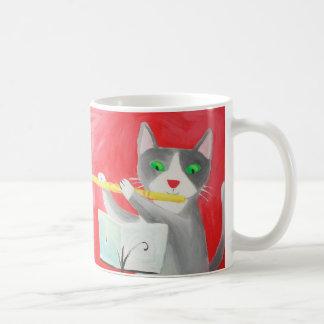 Benny el gato del jugador de flauta taza básica blanca