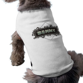 Benny - Pet Dog T-Shirt - Black Paw Prints Design