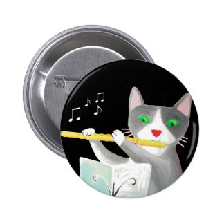 Benny the flute player cat buttons