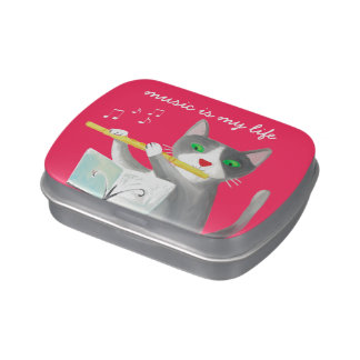 Benny the flute player cat jelly belly tins