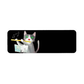 Benny the flute player cat label