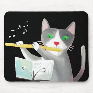 Benny the flute player cat mousepad