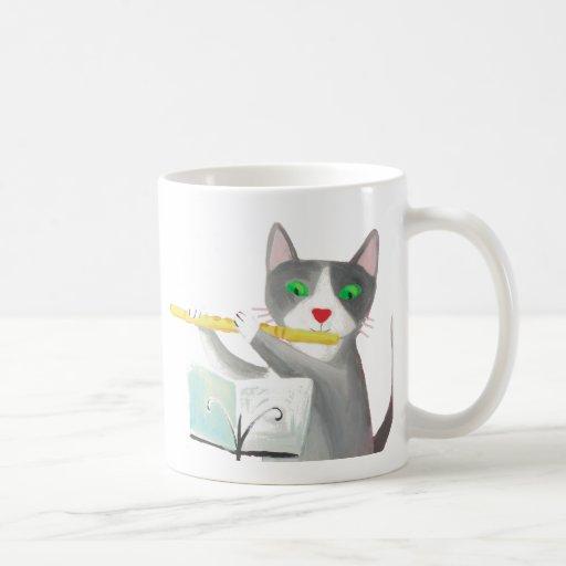 Benny the flute player cat classic white coffee mug