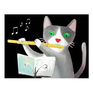Benny the flute player cat postcard
