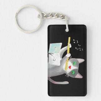 Benny the flute player cat Single-Sided rectangular acrylic keychain