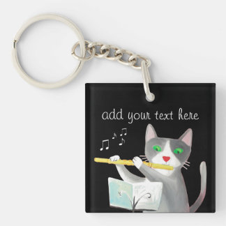 Benny the flute player cat Single-Sided square acrylic keychain
