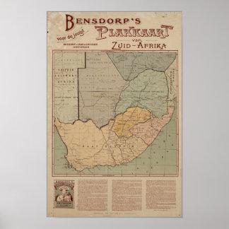 Bensdorp's Dutch Map of South Africa Circa 1900 Print